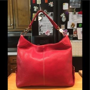 D&B Red Pebbled Logo Lock Lobster Claw Hobo Bag